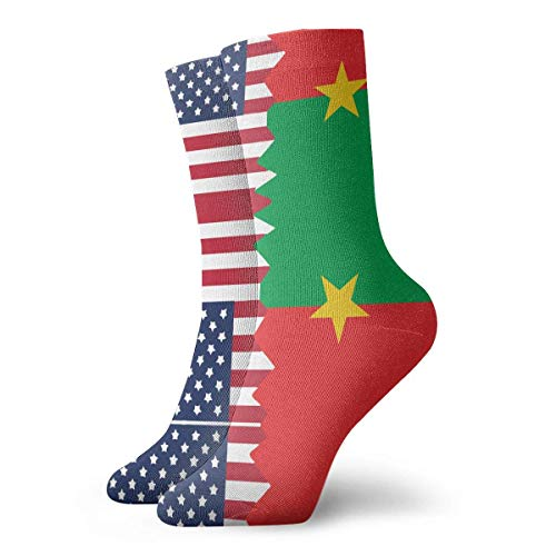 Kevin-Shop Chaussettes de Compression de Voyage, Chaussettes Courtes Drapeau National du Burkina Faso Drapeau des États-Unis