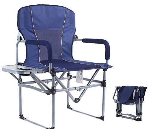 ZOUJUN Folding Camping Chairs for Adults with Side Table, Sturdy Heavy Duty Portable Outdoor Director Chair for Lawn and Sports (Color : Blue)