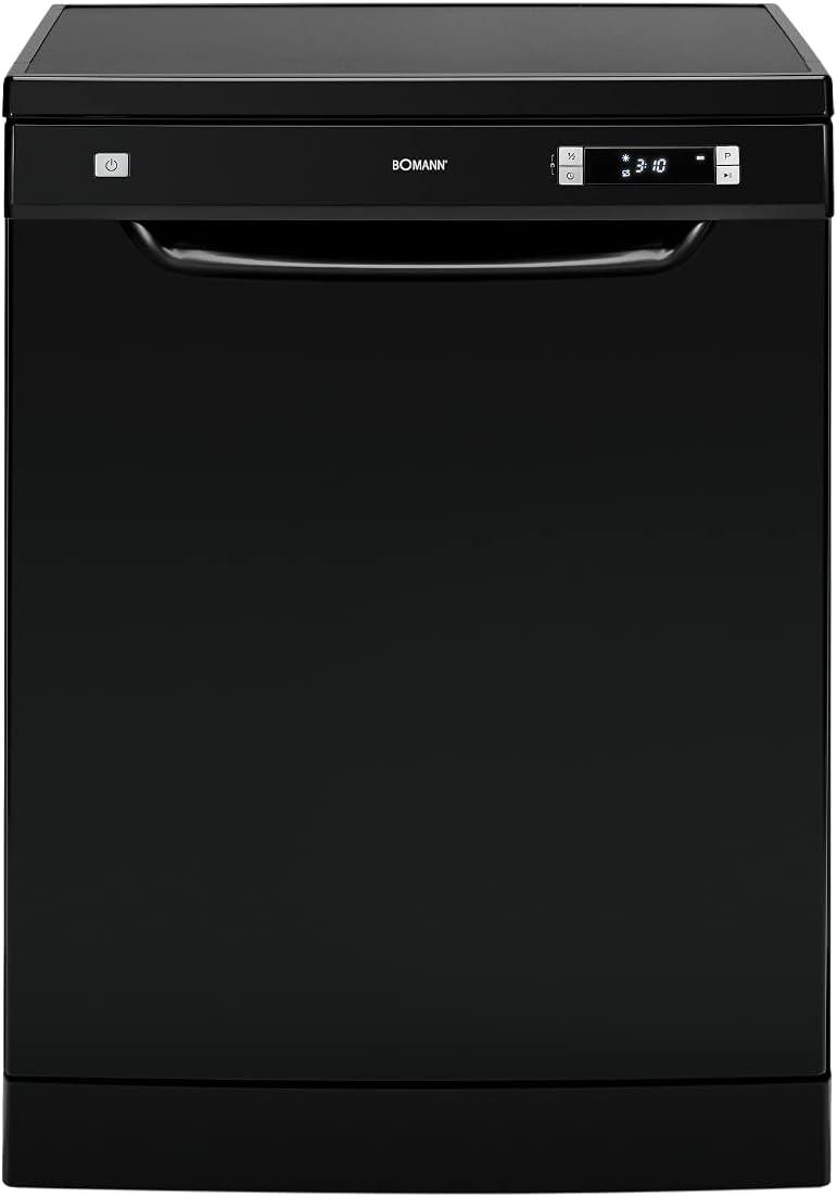 Bomann GSP 7408 - Lavavajillas de pie (60 cm, 6 programas, 13 cubiertas, pantalla LED), color negro