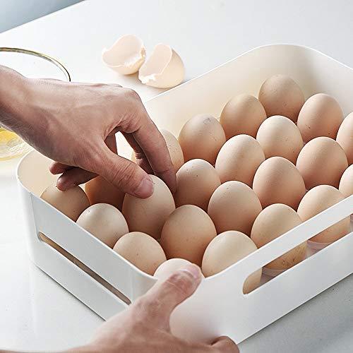 Feixunfan Eierdose, 24 Eierschachteln aus Kunststoff, transparent, Kühlschrank, Aufbewahrungsbox mit Deckel, feuchtigkeitsbeständig, für Küche oder Kühlschrank, weiß, Einheitsgröße