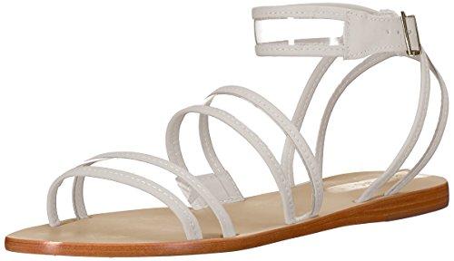 KAANAS Women's Olinda See-Through Strappy Flat Sandal, Off White, 6 M US