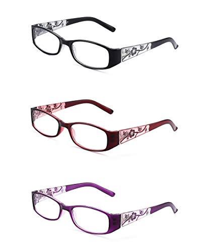 JM 3 Paquete Señoras Gafas de Lectura Bisagras de Resorte Vintage Rectangular Lectores Para Mujer +1.5 Mixto