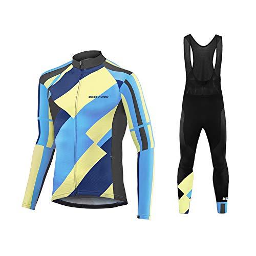 Uglyfrog Winter Completo Ciclismo Abbigliamento Inverno Panno Termico Set di Abbigliamento Ciclista Maniche Lunghe Antivento Ciclismo Maglia + 3D Pantalone Imbottito
