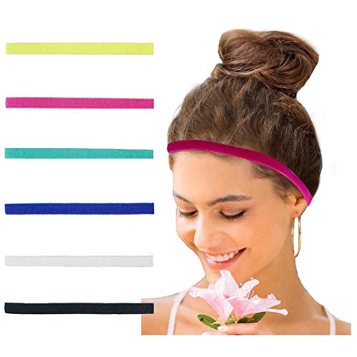 Catery Sports Headbands No Slip Grip Hairband Elastic Single Band Silicone Lined Sweatband Yoga Hair Accessories for Women and Girls (Multi2-6Pack) (Set 2-6 Pack)