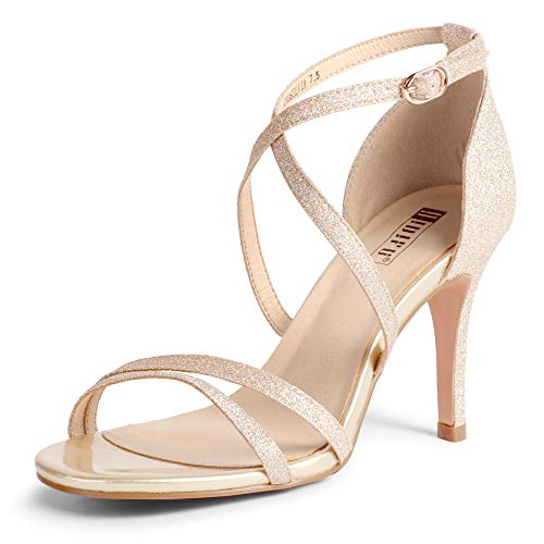 IDIFU Women's Silvia Cross Strappy Open Toe Dressy Sandals Ankle Strap High Heel Bridal Bridesmaid Evening Party Prom Heeled Shoes (Gold Glitter, 9 MUS)
