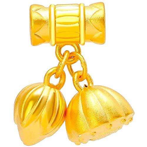 Oro Amarillo De 24 Quilates Loto Colgante Collar, Se Puede Utilizar como Pulsera, para Cumpleaños Aniversario Regalos (Color : Pendant, Tamaño : 18K Gold Chian)