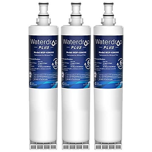 Waterdrop Plus 4396508 Refrigerator Water Filter, NSF 401&53&42 Certified, Replacement for Whirlpool 4396508, 4396510, NLC240V, 4392857, Kenmore 46-9010, EveryDrop Filter 5, EDR5RXD1, Pack of 3