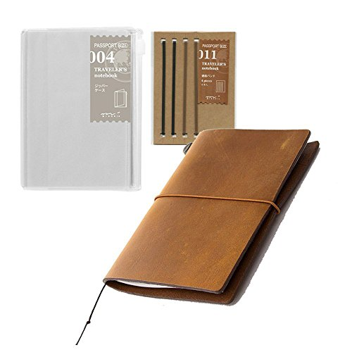 Midori Traveler's Notebook Leather Bundle Set , Passport Size Camel , Refill Connection Rubber Band 011 , Clear Zipper Case 004