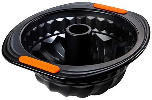 Le Creuset Moule à Kougelhopf Anti-Adhérent, Ø 22 cm, sans PFOA, Résistant au Levain, En Acier Siliconé, Anthracite/Orange