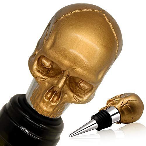 Gold Skull Wine Beverage Bottle Stoppers, Reusable Stainless Steel Bottle Stopper, Unique Halloween Souvenirs Gifts, Decorate Wine Bottle