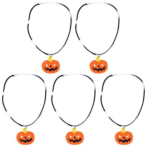 PRETYZOOM 5 Stücke LED Halloween Halskette Blinkende Kürbis Anhänger mit Licht Silikon Kettenanhänger Schmuck Kette Anhänger Lichterkette Halsschmuck für Kinder Mädchen Damen