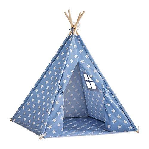 DZHTSWD Play Tents Niños Niños Playera Tienda India Teepee Indoor and Outdoor Games Kids Play Tent Play (Color: Azul, Tamaño: Un tamaño) (Color : Blue, Size : One Size)