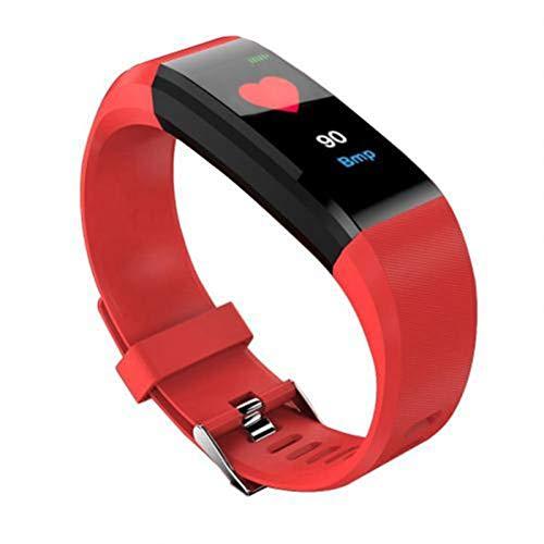 YONGLI Bluetooth Deportes Pulsera Unisex Color Pantalla Táctil Tasa De Corazón Presión Arterial Reloj Inteligente Impermeable para Xiaomi iPhone (Color : Red)