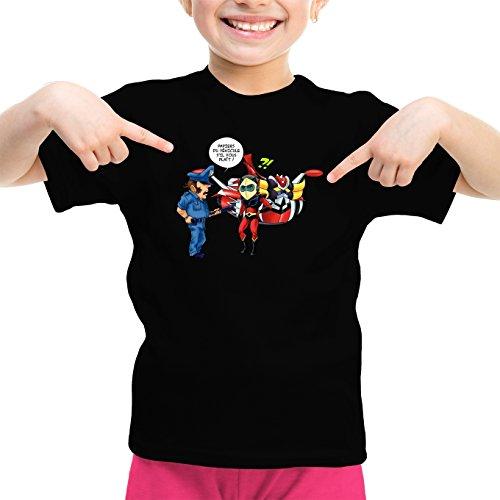 Okiwoki T-Shirt Enfant Fille Noir Goldorak parodique Actarus : Papiers du véhicule s'il Vous plaît ! (Parodie Goldorak)