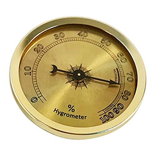 chiwanji Igrometro A Sigaro - Igrometro Analogico Tondo In Metallo Ad Alta Precisione - 2,2 X 2,2 X 0,5 Pollici, Oro