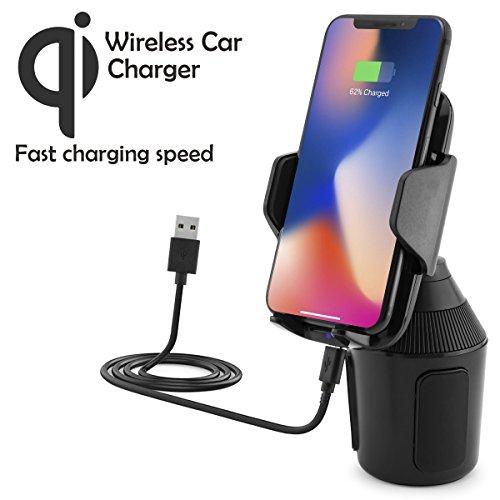 Universal Wireless Auto KFZ-Dosenhalter mit Qi-Ladefunktion kompatibel mit Apple iPhone X, 8, 8 Plus/Samsung Galaxy S9, Note 8, S8, S8+, S7, S7 Edge/LG G6, G4 / Microsoft/Motorola usw.