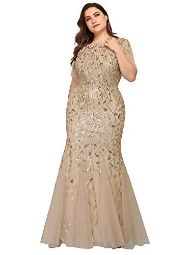 Women's Long Wedding Prom Dresses Evening Party Evening Gown Plus Size Gold US20 (Modest Mother Of The Bride Dresses With Sleeves)