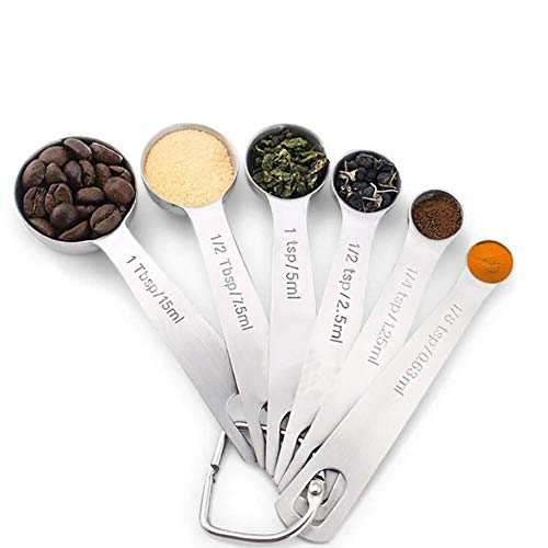 ZLMI Baking Tools All Stainless Steel Kitchen Seasoning Small Measuring Spoon Baking Six Sets of Measuring Spoon Set Round Head Measuring Cup