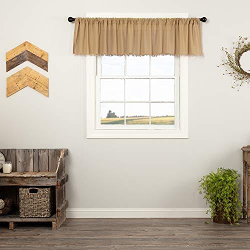 VHC Brands Primitive Farmhouse Kitchen Window Curtains - Tobacco Cloth Tan Fringed Valance, 16x90, Khaki