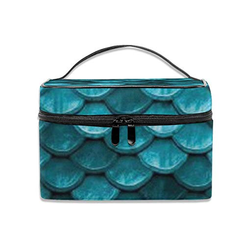 Vanity et Trousses à Maquillage Beautiful Marine Blue Teal Mermaid Fish Travel Cosmetic Case Organizer Portable Artist Storage Bag with Built-in Pocket Multifunction Case Toiletry Bags