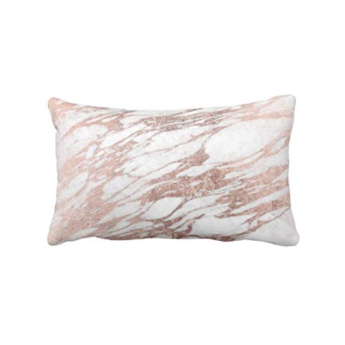 perfecone Home Improvement Pillowcase Chic Elegant White and Rose Gold Marble for Sofa and car Pillow case 1 Pack 19.68 x 35.4 inches/50 cm x 90 cm