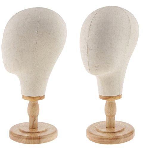 CUTICATE 2 Stück 21'' Segeltuch Perückenkopf Schaufensterpuppe Kopf Modellkopf Mit Ständer