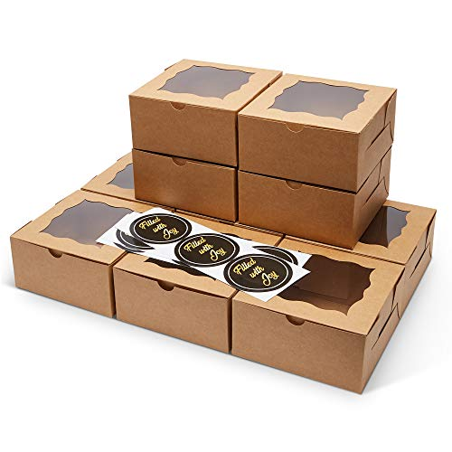 FREVES Brown Bakery Boxes  50 Pack  Bakery Box with Window  Desserts Soaps Gifts  Free Stickers  Easy Assembly  Durable Pastry Boxes  6x6x3  Natural Color