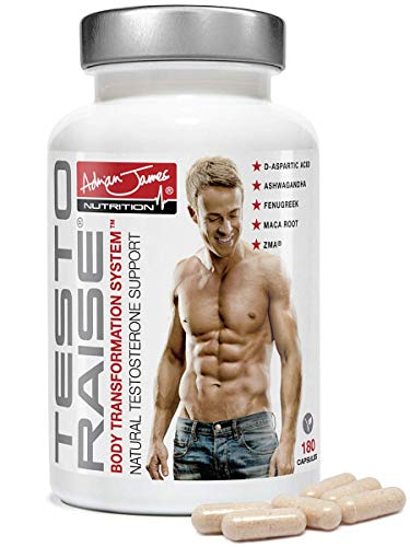 Adrian James Nutrition - Testoraise Testosterone Booster, Premium Grade Testosterone Supplement with Ashwagandha, Fenugreek, Maca Root, Boron and ZMA, Quality Assured, 180 Vegetarian Capsules