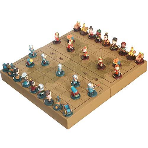 WYFX Caja de Madera de ajedrez Chino 32Pcs / Set Juego Antiguo de Go Xiang Qi Damas internacionales Regalos de Juguete Plegables No Fiesta de Rompecabezas Casual magnético