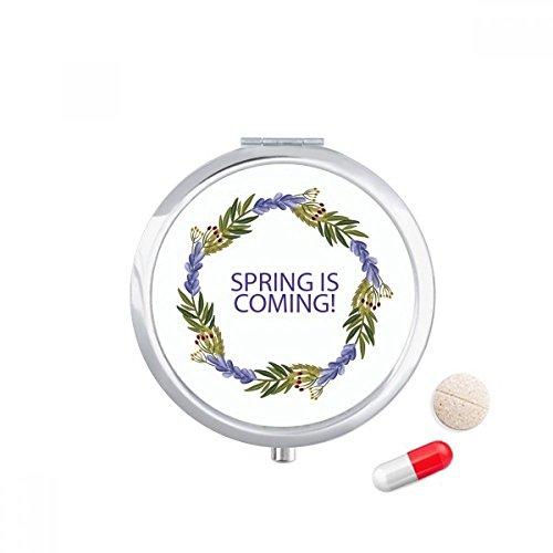 DIYthinker ronde slinger blauwe bloem plant Travel Pocket Pill Case Medicine Drug Opbergdoos Dispenser Spiegel Gift