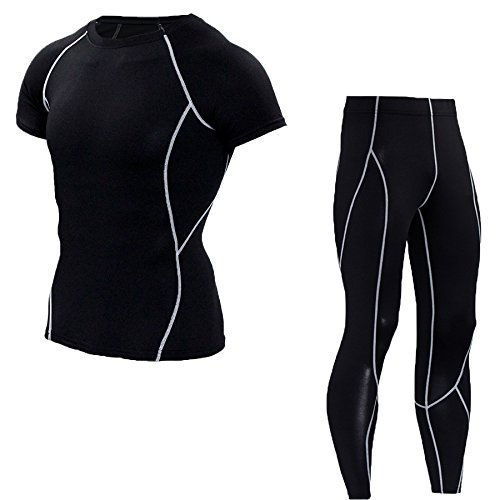 Running Fitness Outdoor Tights Sports Fitness Suit Suit Men Short Sleeve Plus Trousers Transpiration Respirant Compression Clothing S Gris