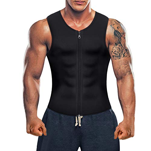 Men Hot Neoprene Sauna Suit Waist Trainer Vest Corset Body Shaper Zipper Tank Top Workout Shirt (Black, Medium)