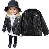 Binggong - Chaqueta de piel para niño, 80-120, para otoño e invierno, color negro, costuras de poliuretano, chaqueta de punto, chaqueta de punto para exterior, chaqueta de plumón 100 Negro