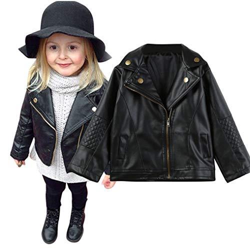 Binggong Baby Jungen Mädchen Revers Lederjack,80-120 Kinder Mantel Coat Jacken Herbst Winter Schwarz Pu Nähte Strickjacke Kleidung Warm Outwear Daunenjacke