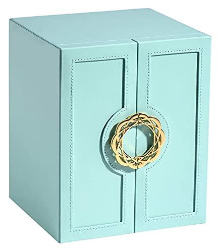 JIAH Caja de joyería de Cuero de Lujo Exquisito Anillo Pendiente Collar Reloj de Almacenamiento Caja de Almacenamiento Hogar Caja de joyería de 5 Capas Caja de joyería (Color: Azul) (Color: Blanco)