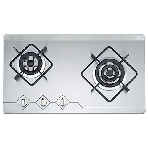 Table de cuisson à gaz, 29 x 17 pouces encastré, 2 brûleurs, cuisinière à gaz, plaque de cuisson en acier inoxydable avec minuterie de 120 minutes, plaque de cuisson au gaz, certifiée de sécurité ETL