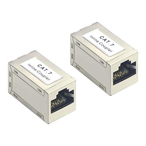 VCELNK Conector RJ45 Hembra a Hembra CAT7 Empalme RJ45 Acoplador RJ45 Blindado Pare Cable LAN, Cable de Red, Cable Etherne Cat7, Cat6A 2 Unidades