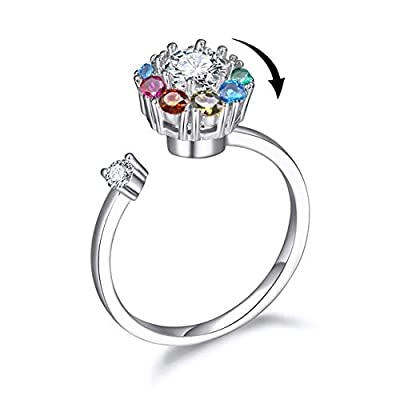 Relationship Ring 18K White Gold Plated Adjustable Rolling Ring Rainbow Ring for Teens Colorful Crystal Silver Graduation Ring Back to School Jewelry Gift(Girls Ring Colorful) by Bling Toman