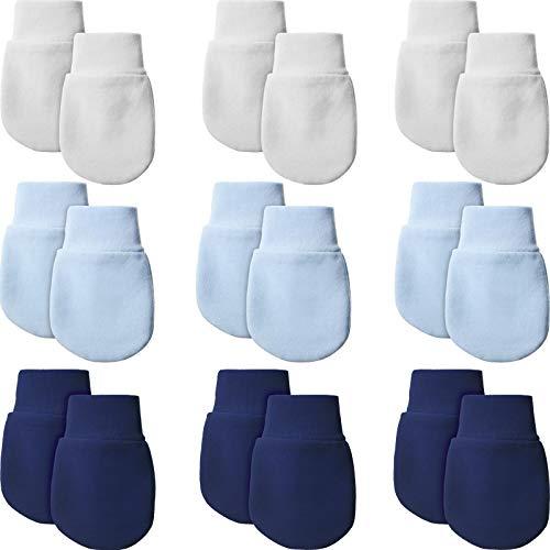 Syhood 9 Paare Neugeborene Fäustlinge Baby Säugling Handschuhe Kein Kratzer Handschuhe Unisex Baumwolle Handschuhe für 0-6 Monate Baby Jungen Mädchen (Weiß, Hellblau, Marineblau)
