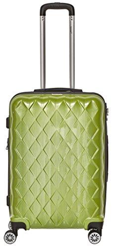 Packenger Koffer - Atlantic -  (L), Grün, 4 Zwillingsrollen, 74 Liter, 3,8Kg, Koffer mit TSA-Schloss, Erweiterbarer Hartschalenkoffer, Trolley
