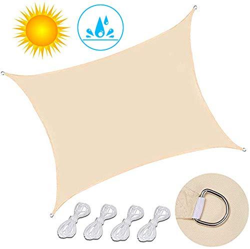 ZDiane Sonnensegel Rechteck, Atmungsaktiv Sonnenschutz HDPE mit UV Schutz für Terrasse, Balkon und Garten- Beige,3X4m