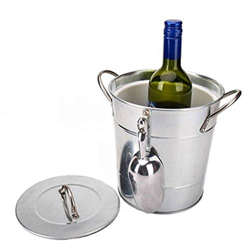 Ice Bucket Party Cooler met Deksel Wijn Champagne Bier Gegalvaniseerd Staal Scoop
