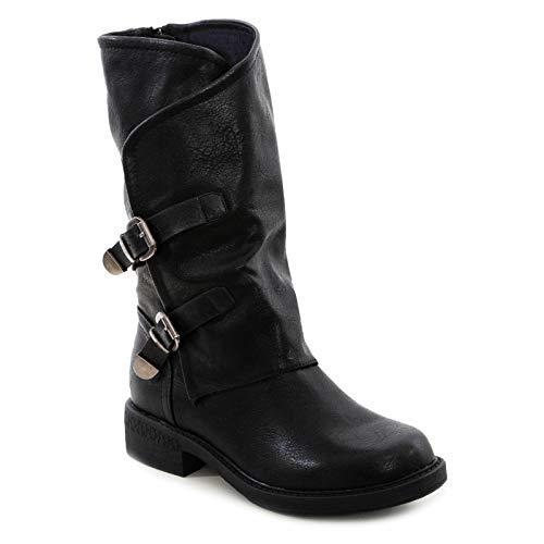 Toocool - Botas de mujer Biker Boots Hebillas Anfibi Motociclista Zapatos Casual G620 Negro Size: 40 EU