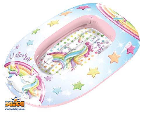 Saica Barca Hinchable para niños Unicornio. Playa y Piscina. Colchoneta, Multicolor (2813)
