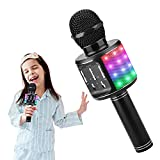 Microfono Karaoke Bluetooth, ShinePick 5 en 1 Micrófono Inalámbricos Niños Portátil con Altavoz y LED, Karaoke Speaker para Niños Niñas Canta Partido Musica, Compatible con Android/iOS/Teléfono/PC