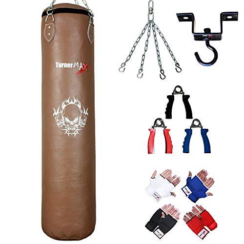 TurnerMAX Sac de frappe en cuir de vache véritable avec gants, crochet de plafond résistant et chaîne, naturel