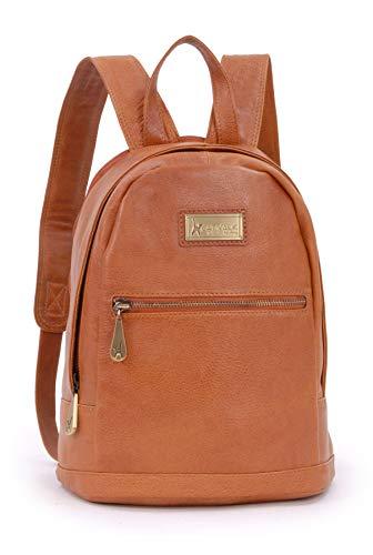 CATWALK COLLECTION - Piel Vintage - Mujer - Bolso de Mochila/Hombro/Bolsa de Viaje/Backpack - Para iPad/Tablet - Cuero - FERN - Tostado