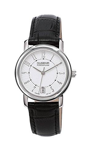Dugena Rondo Petit Arabica Armbanduhr, Leder, Ø 30mm, schwarz/silber