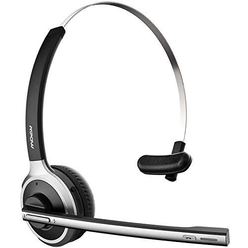 Mpow M5 Auriculares Bluetooth V5.0, Micrófono que se Gira para Silenciar, Auriculares Inalámbricos con Cancelación de Ruido, 18 Horas de Conversación, Cascos para Centro de Llamadas de Oficina en Casa