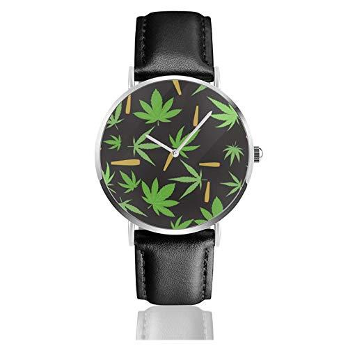 Reloj de pulsera de cuarzo, diseño de marihuana, resistente al agua, correa de piel sintética, reloj de cuarzo de acero inoxidable, estilo clásico